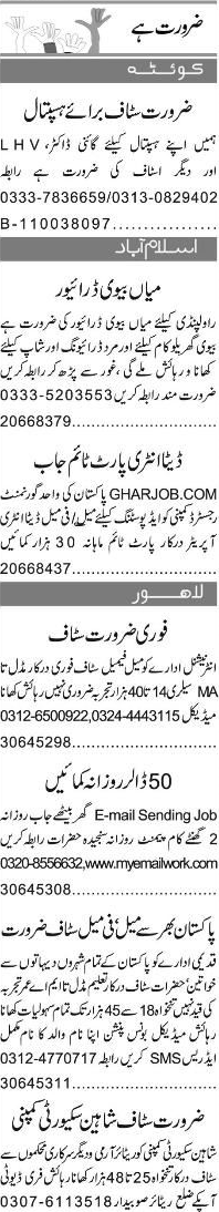 Lady Health Visitors LHVs, Gyne Doctors Job Opportunity