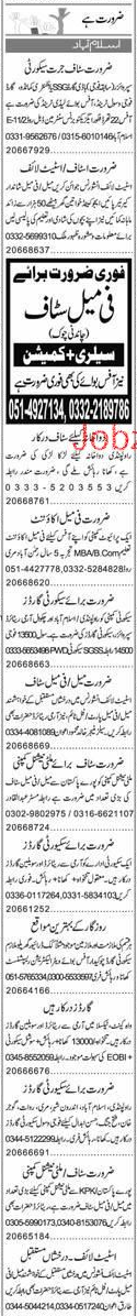 Security Guards, Office Boys, Data Entry Operators Wanted