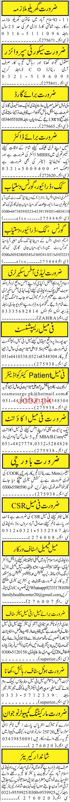 House Maid , Security Supervisors Job Opportunity
