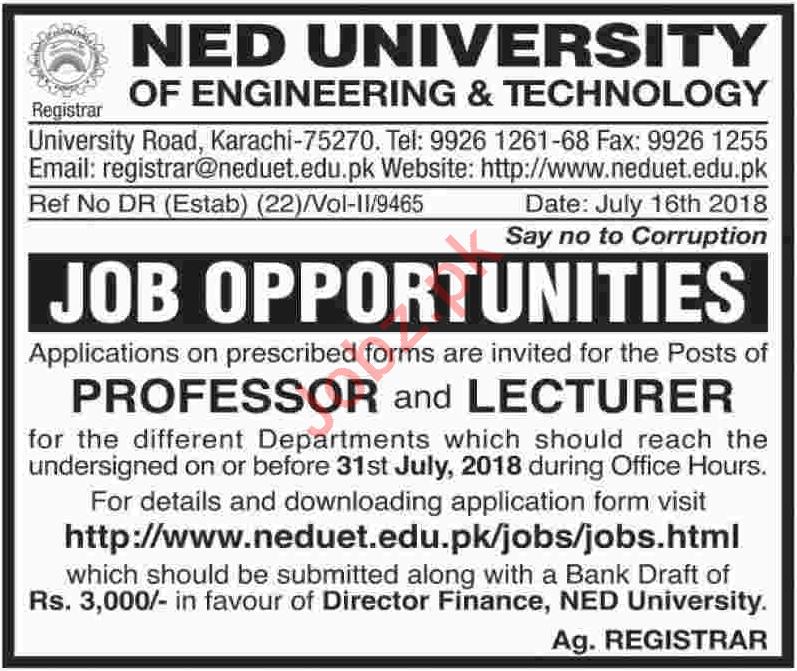 NED University of Engineering & Technology Jobs 2018