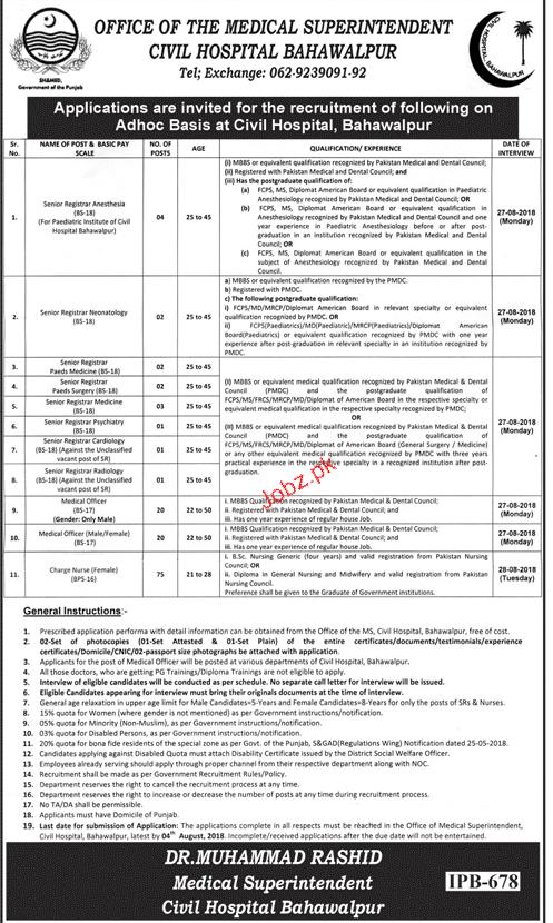 Civil Hospital Bahawalpur Medical Jobs