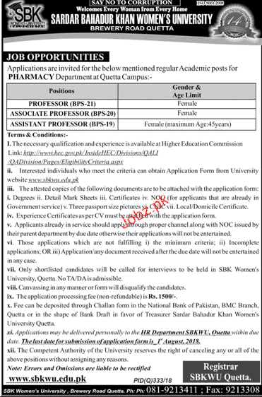 Sardar Bahadur Khan University SBK Women University Jobs
