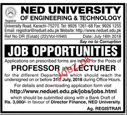 NED University of engineering and Technology Jobs