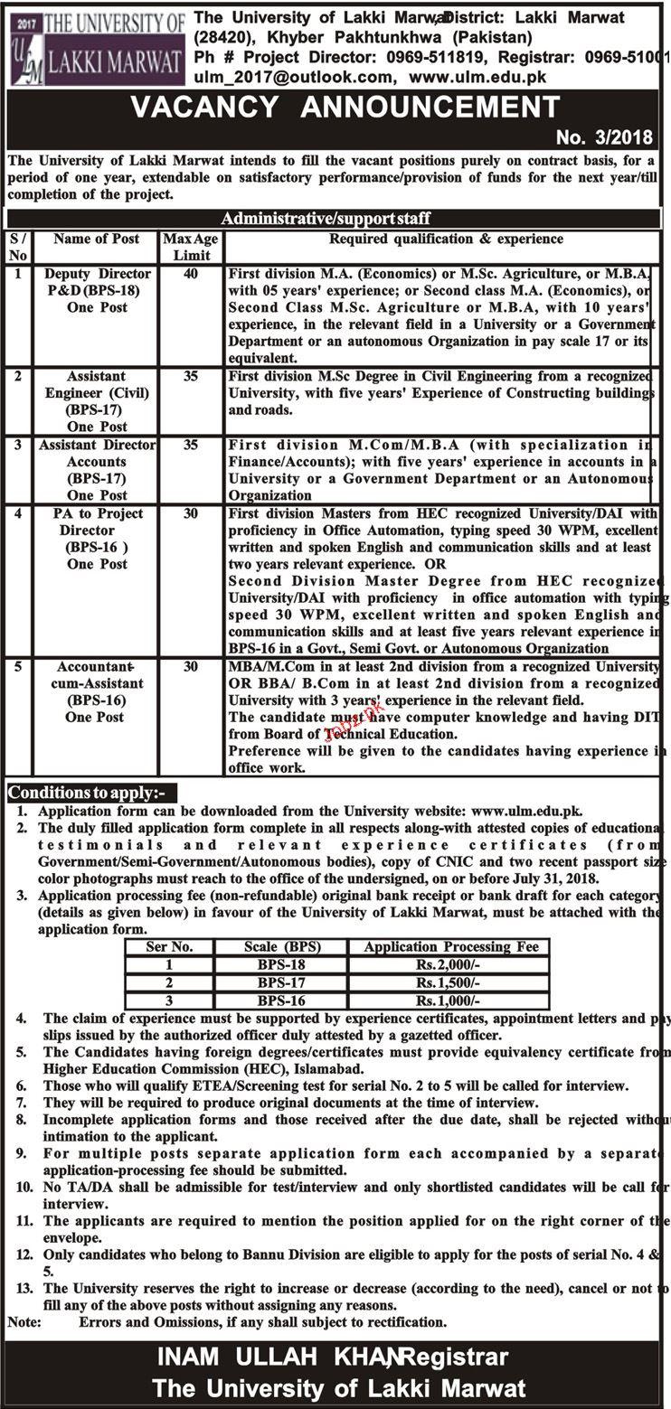 The University of Lakki  Marwat  Management Jobs