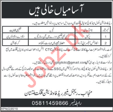 Red Foundation School & College Jutial Gilgit Jobs 2018