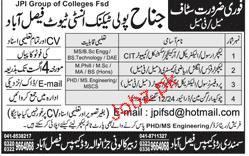 Jinnah Polytechnic Institute Faisalabad Jobs