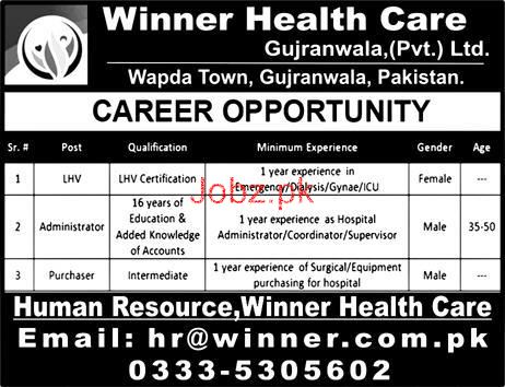 Winner Health Care Gujranwala PVt Ltd Jobs