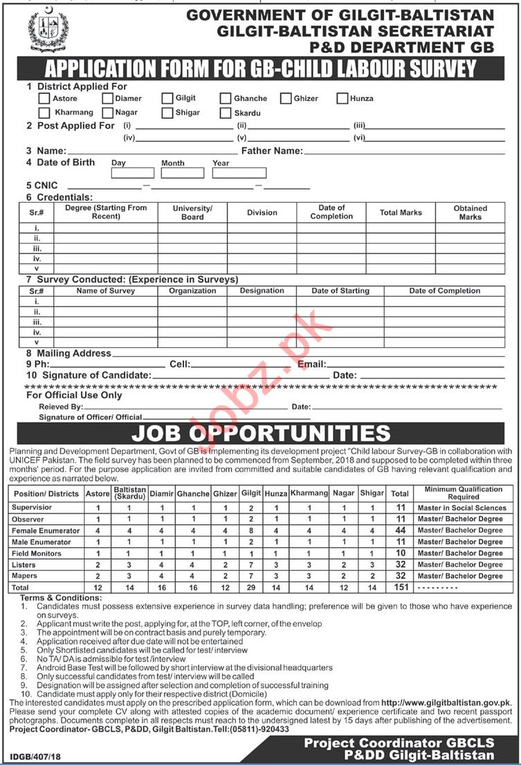 Gilgit Baltistan Secretariat P&D Department GB Jobs 2018