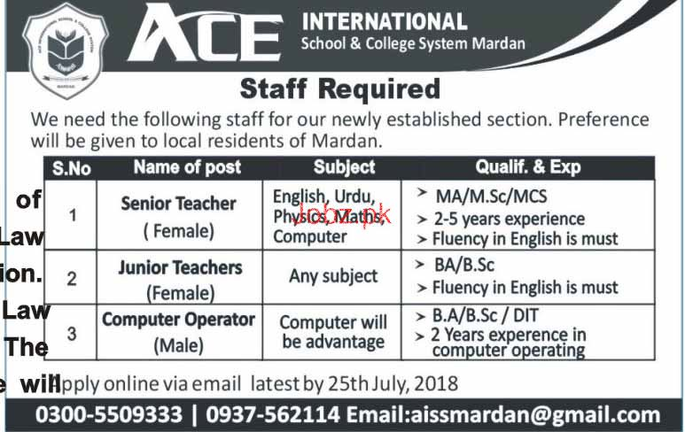 ACE International Scholl & College System Teachers Jobs