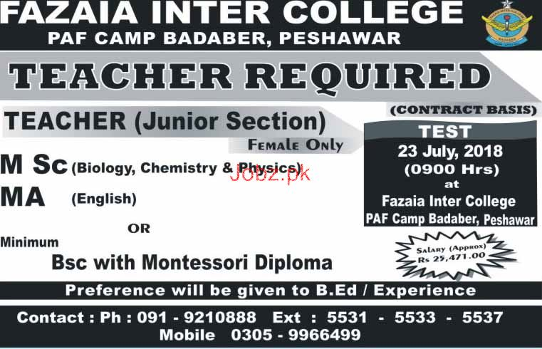 Fazaia Inter College PAF Camp Badaber Peshawar Jobs