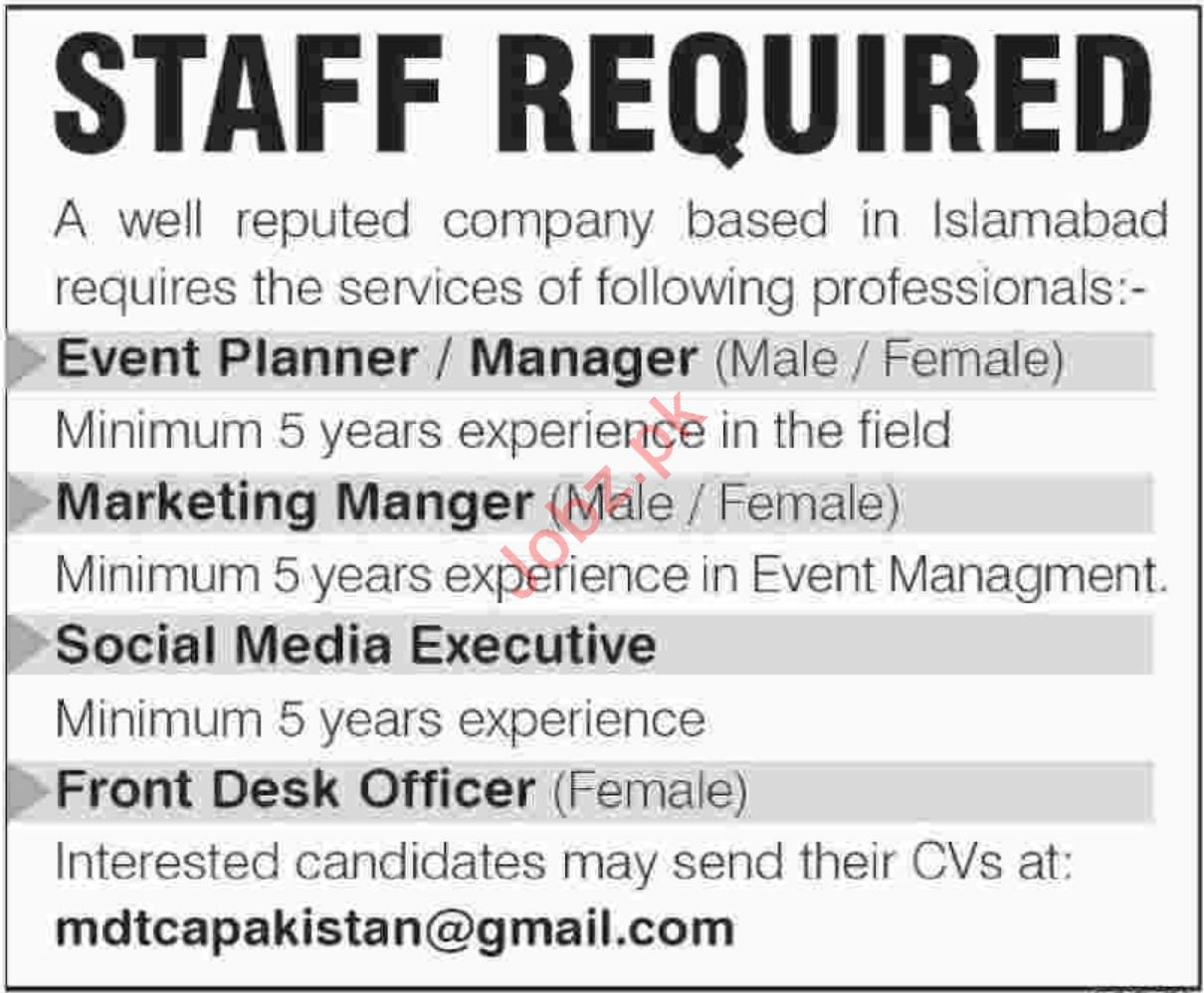 Front Desk Officer, Social Media Executive & Manager Jobs