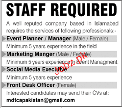 Event Planners / Manager, Marketing Manager Job Opportunity