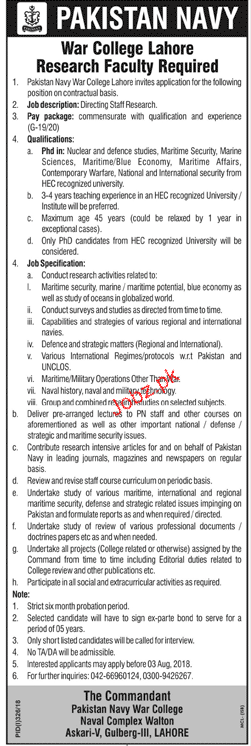 Pakistan Navy War College Lahore  Jobs