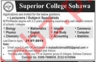 Superior College Sohawa Campus Jobs 2018 for Lecturers