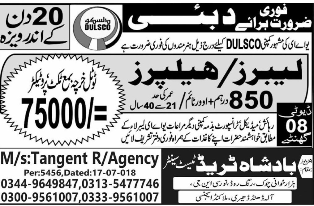 Labors / Helpers Job in Dulsco Famous Company