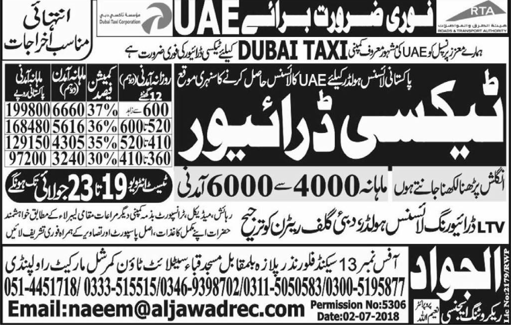 LTV Taxi  Drivers Job in Dubai TAxI
