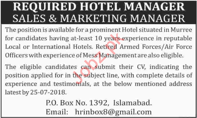 Hotel Manager, Sales & Marketing Manager Jobs 2018