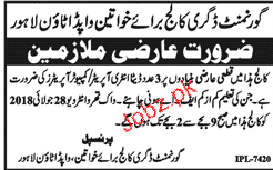 Government Degree College For Women Wapda Town Jobs