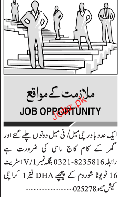 Male / Female Cook and House Maid / Masi Job Opportunity 2019 Job