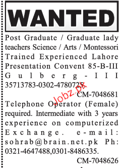 Female Telephone Operators and Teachers Wanted
