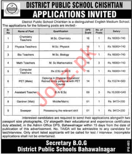 District Public School DPS Chishtian Jobs 2018