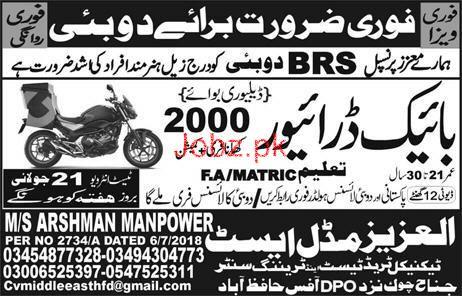 Bike Riders Job in BRS Dubai Famous Company