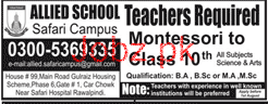 Allied School Safari Campus Montessori Teachers Jobs