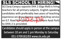 Male / Female Teachers Job in SLS School Zaraj Campus