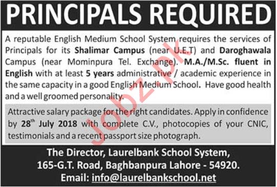 Laurelbank School System Lahore Jobs 2018 for Principal