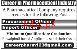 Procurement Officers Job in Pharmaceutical Company
