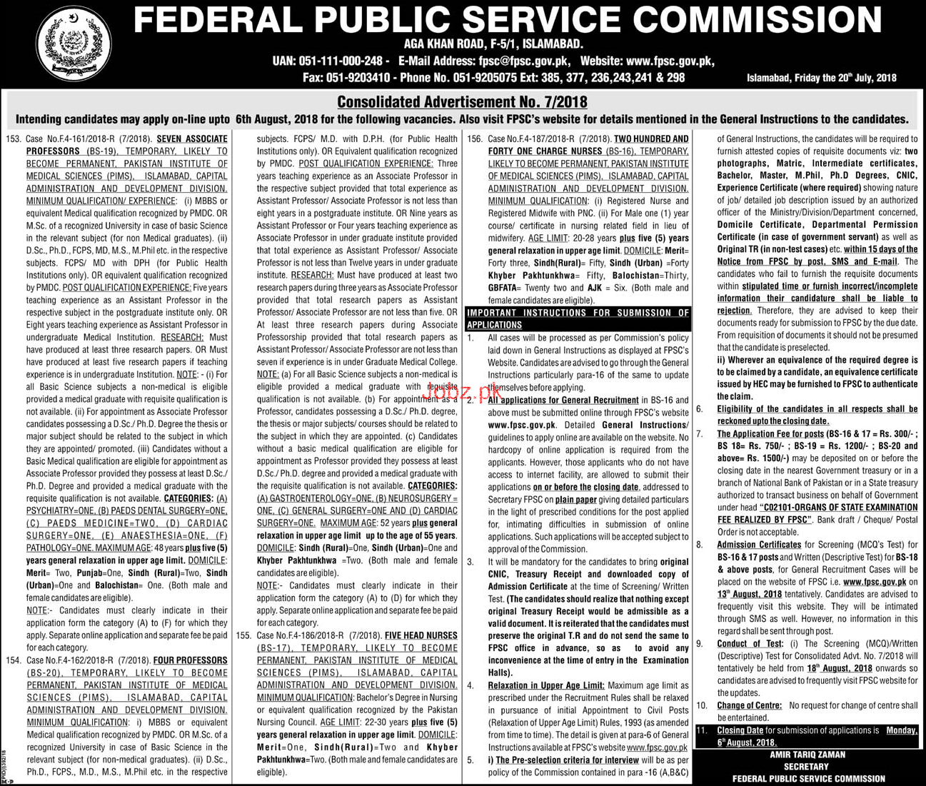 Recruitment of Charge Nurses in PIMS Islamabad Through FPSC