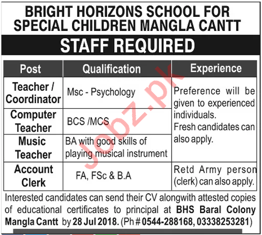 Bright Horizons School for Special Children Mangla Jobs 2018