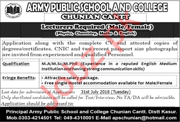Lecturers for Army Public School APS
