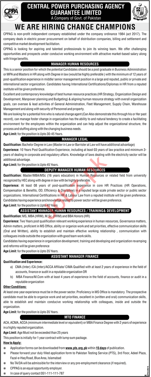 Central Power Purchasing Agency CPPA Jobs