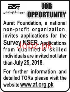 Aurat Foundation Survey NSER Jobs