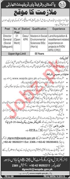 WAPDA Lahore Jobs 2018 for Director General