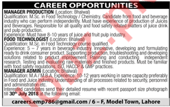 Manager Production and Food Technologist required