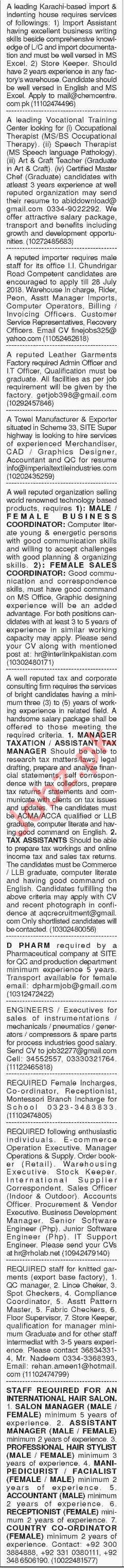 Multiple Staff Jobs Opportunity in Karachi