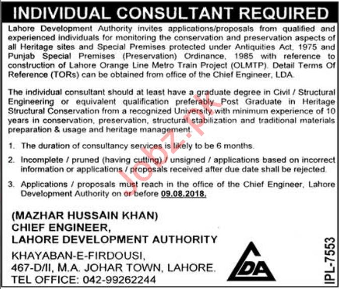 Lahore Development Authority LDA Consultant Job 2018
