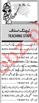 Principal & Teachers Jobs Opportunity in Lahore