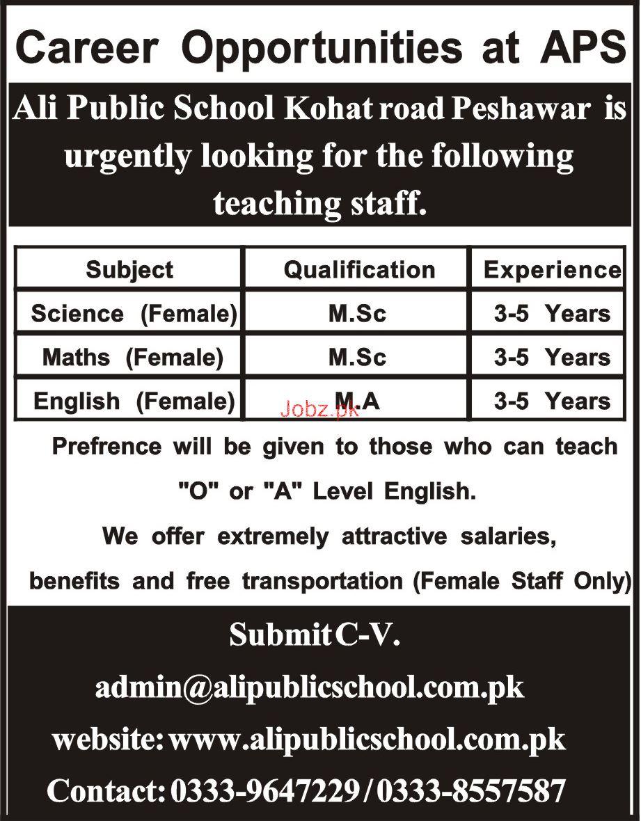 Ali Public School APS Kohat  Teachers Job