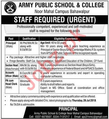 Army Public School & College Bahawalpur Jobs 2018