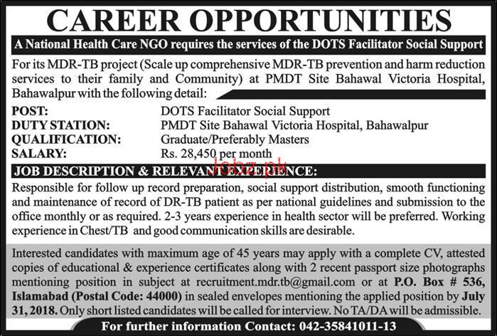 DOTS Facilitators Social Support Job in National Health NGO
