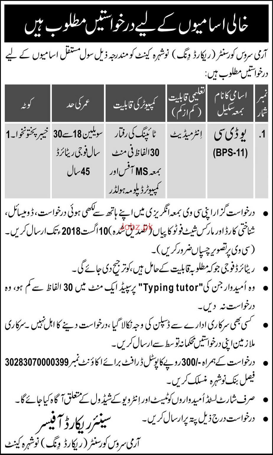 Army Service Corps Center  Record Wing Nowshera UDC Jobs