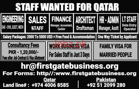 Engineers, Sales Staff, Finance Manager, Accountant Wanted