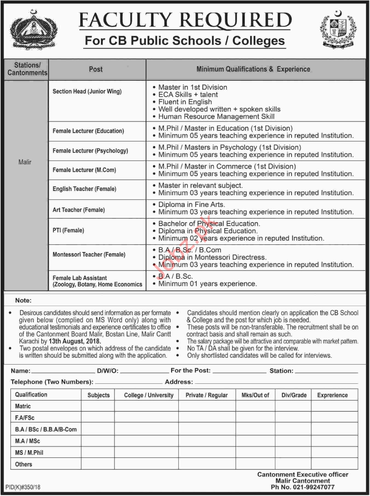 CB Public Schools & Colleges Karachi Jobs 2018 for Lecturers