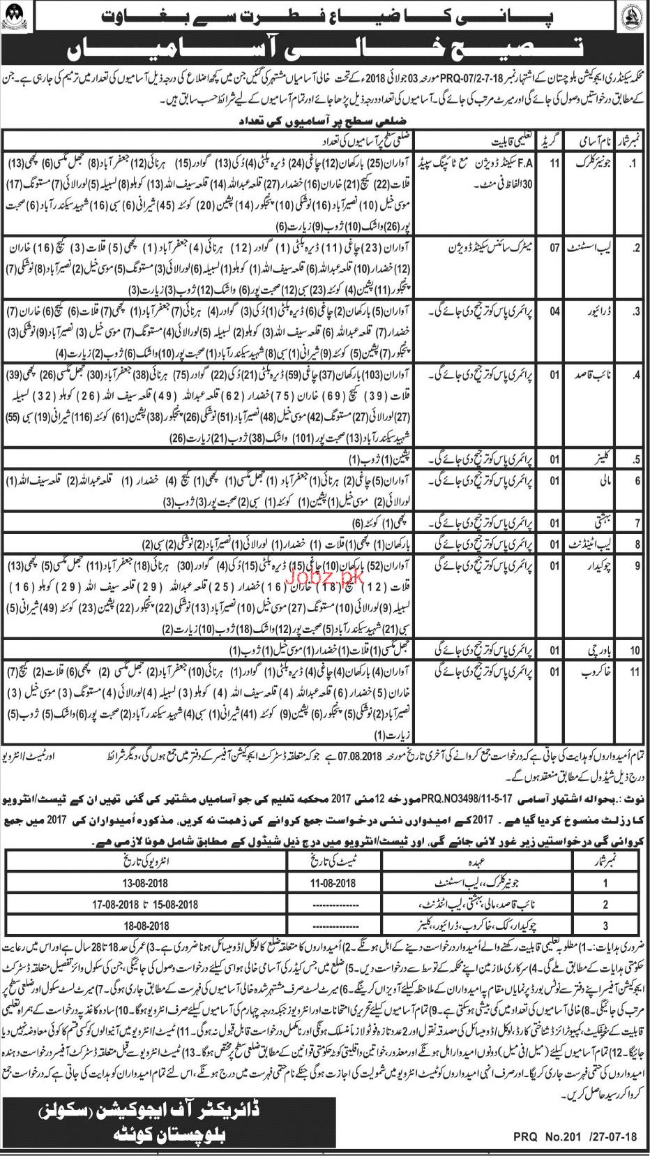 Secondary Education Department Balochistan  Jobs
