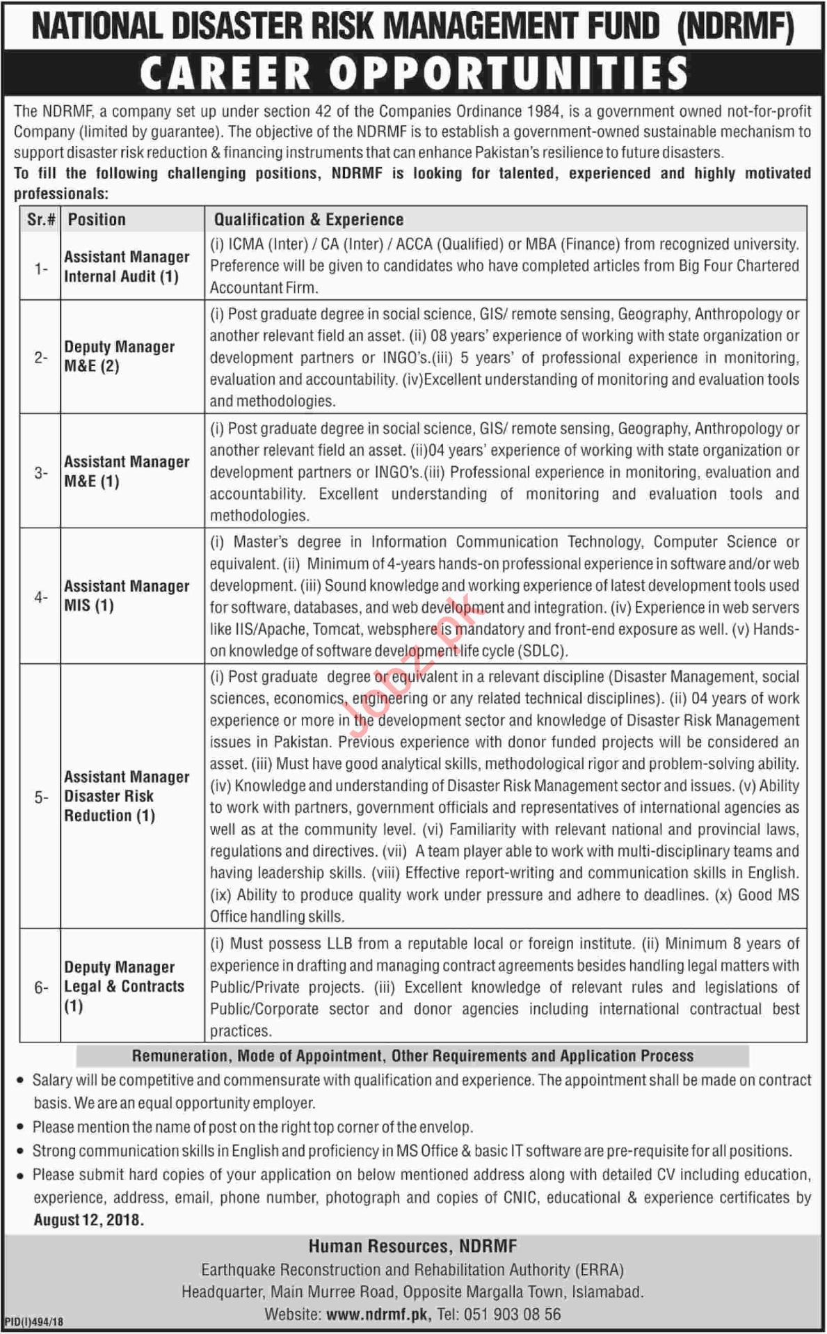 National Disaster Risk Management Fund NDRMF Islamabad Jobs