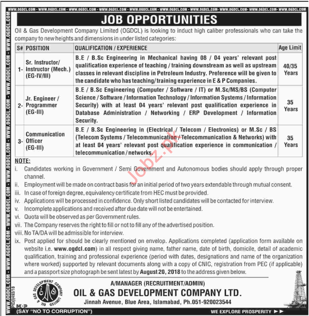 OGDCL Islamabad Sr Instructor & Jr Engineer Jobs 2018