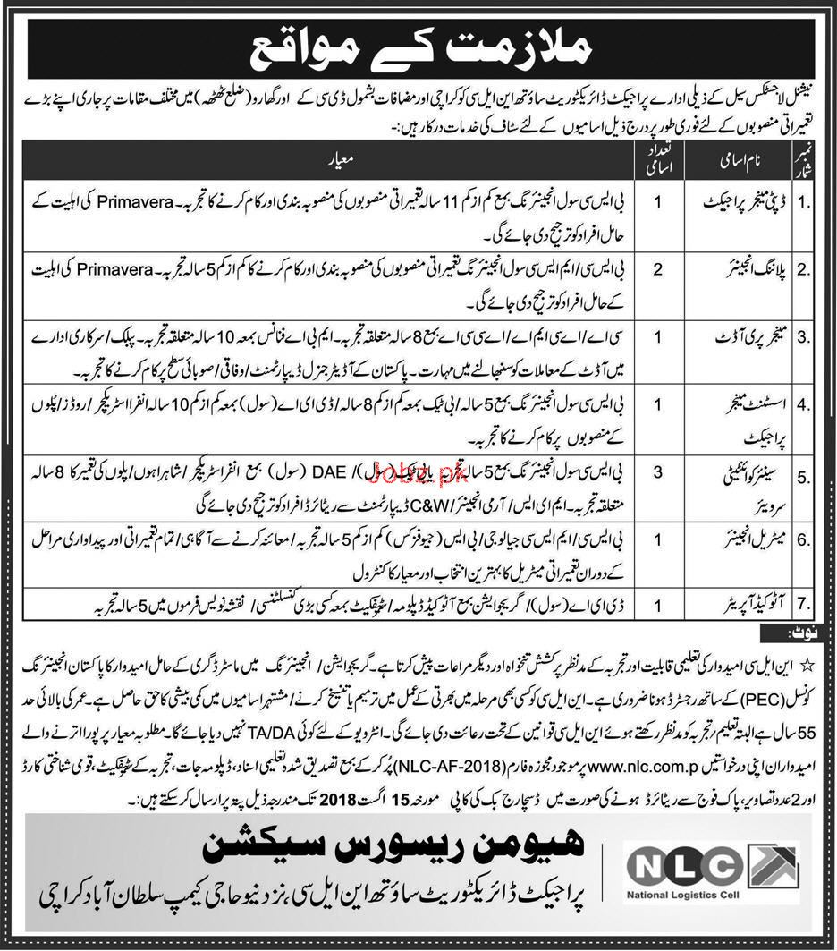 National Logistics Cell NLC Project Directorate Jobs